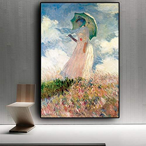 sanzangtang Rahmenlose Malerei Wohnzimmer Wandbild mit Poster und Druck auf Leinwand der abstrakten Frau des Sonnenschirms DameZGQ4438 40X60cm