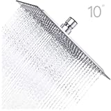 Derpras 10 Inch Square Rain Shower Head, 304 Stainless Steel, Ultra Thin High Pressure Bathroom Rainfall Showerhead (Brushed Nickel) (196 Jets)
