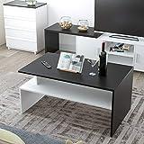 Homfa Couchtisch Wohnzimmertisch Beistelltisch Holztisch Kaffeetisch Holz 90x50x43cm (Schwarz+Weiß) - 6
