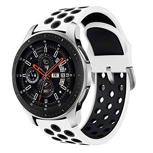 Syxinn Compatible avec 22mm Bracelet de Montre Galaxy Watch 46mm Bande de Remplacement en Silicone pour Gear S3 Frontier/Classic/Moto 360 2nd Gen 46mm/Huawei Watch GT/GT 2 46mm/Ticwatch Pro