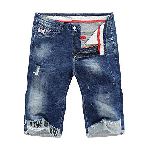 Vaqueros para Jeans Pantalones Pantalones Cortos De Mezclilla para Hombre Jeans Summer Thin Super Stretch Blue Ripped Biker Slim Jeans Hombres Skinny Puños Hombre 29 Azul