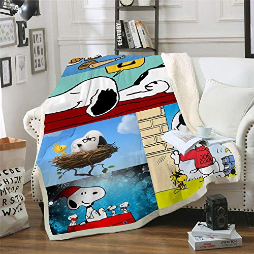 BLAMARIA Mantas para Cama Dibujos Animados Anime Snoopy Pattern Sherpa Throw Double Blanket Adult Kids Warm Warm Couch Chair Soft Blanket (C) 150 * 200 CM