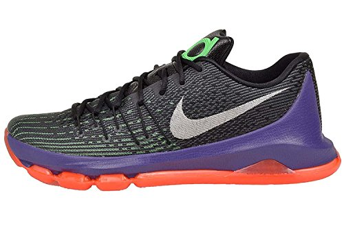 Nike Mens KD 8, Black/White-Green Shock-Hyper Orange, 11.5 M US
