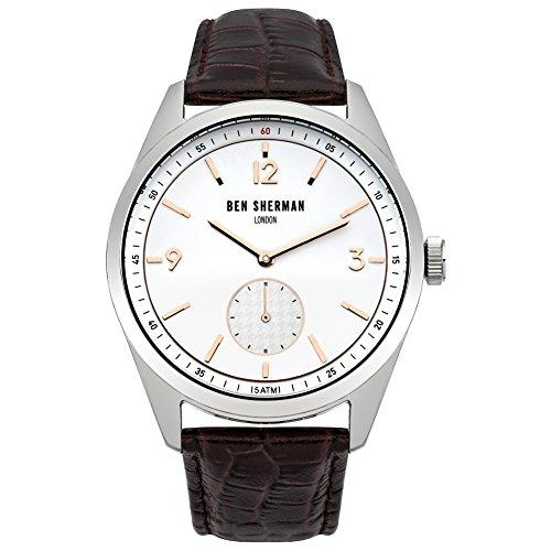 Ben Sherman Hombres Reloj De Cuarzo con Esfera Analógica Blanca y Correa de Piel Color marrón wb052br