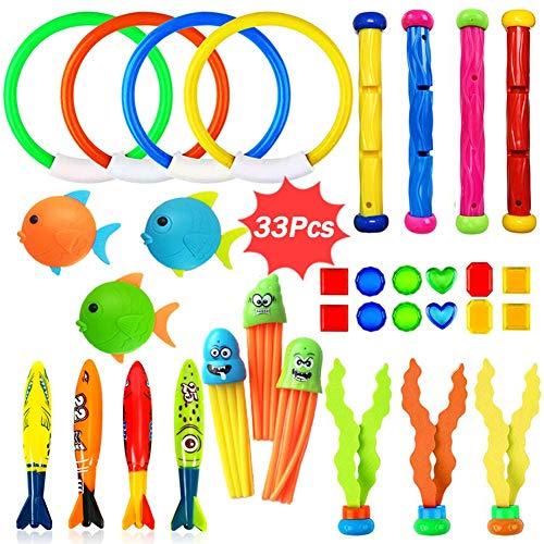 Dulabei 33 Stücke Tauchspielzeug Tauchen Spielzeug Tauchring,Schwimmbad Spielzeug Unterwasser Tauch Pool Spielzeug zum Tauchen Lernen für Kinder Jungs Mädchen