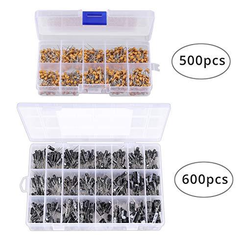 Juego de 500 piezas Condensadores Electrolíticos y 600 piezas Capacitores Ceramicos 10 valores Rango 100 nF-10uF Capacitor Electrolítico 24 valores 16-50V Rango 0.1uF-1000uF