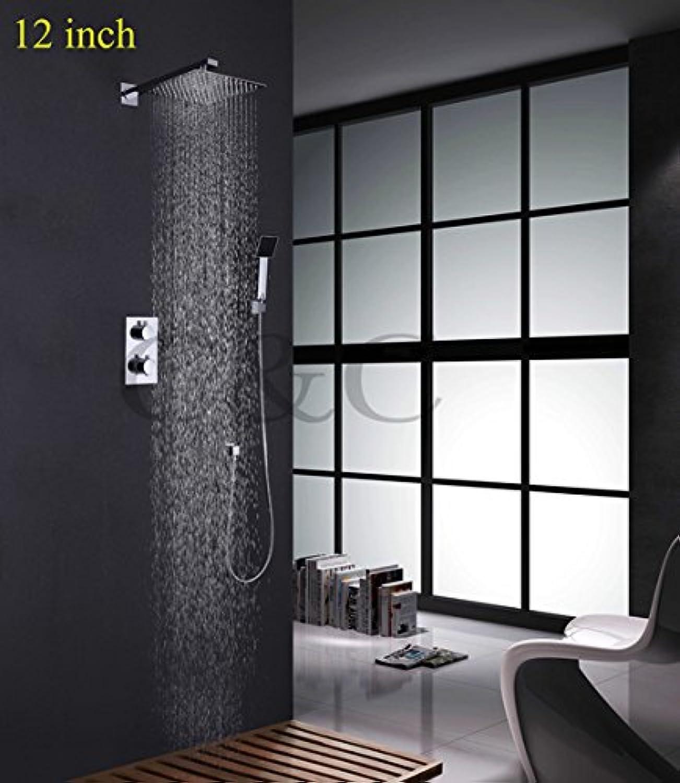 Galvanik Retro Wasserhahn Luxus 8-10-12 Zoll thermostatische Badezimmer Dusche Wasserhahn mit Ultra-dünne Regendusche Kopf- und Handbrause, Rot