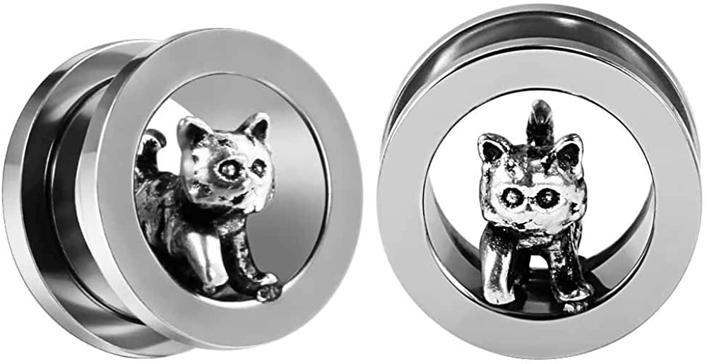 TBOSEN 2 pcs Stainless Steel Recommendation Plugs Cat Ear Expande Tunnel Reservation