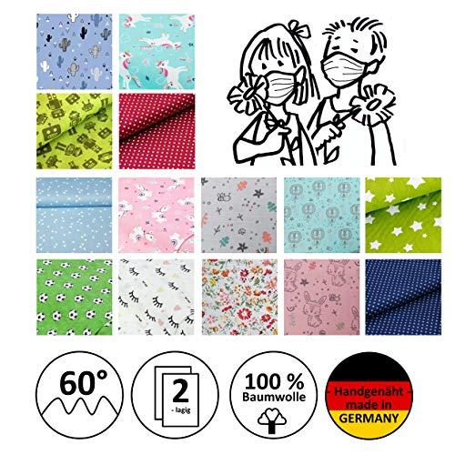 Mund- und Nasenmaske, Kindermaske, Community-Maske, Alltagsmaske, Gesichtsmaske, Behelfsmaske - Für KINDER/JUGENDLICHE - handgenäht in Deutschland