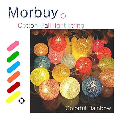 Morbuy Guirlande Lumineuse Boule, Cosy Boules Coton 20 LED Batterie Éclairage 6cm Balle Ficelle Lumière Décoration pour La Saint Valentin Noël Mariage Fêtes (3.3m / 20 Boule lumière, Rainbow Coloré)