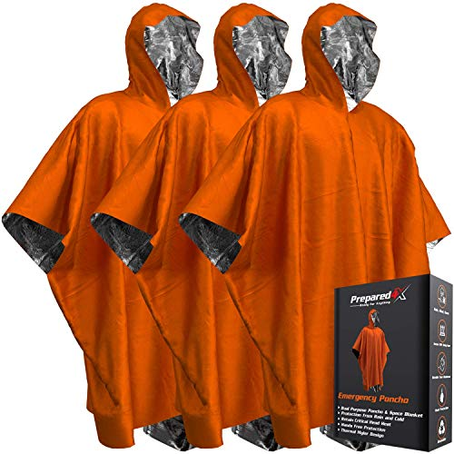 Emergency Blanket Poncho - Keeps You and Your Gear Dry and Warm During Camping Hiking or any Outdoor Activity | Thermal Mylar Space Blanket Rain Ponchos to Keep You Prepared to Survive | 3 Pack