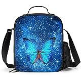 Delerain - Fiambrera con diseño de mariposas, con asa y correa para el hombro, bolsa de comida para niños, niñas, niños, preescolar, oficina, picnic