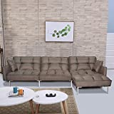 Brown Sectional Sofa Bed with Reversible Ottoman,JULYFOX 900 LB Heavy Duty 109 inch Fabric Sectional Futon Sofa Sleeper Bed Tufted 2 Position Recliner Back Modern Day Bed
