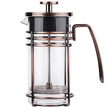 ZaKura French Press Coffee Maker, Tea Maker, Stainless Steel Filter, 350ml/12oz, Bronze.