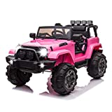 TRINEAR Kids Ride on Car, 12v Kids Ride on Truck Car with Remote Control, Battery Power Electric Cars for Kids, 3 Speeds 4 Wheels, Spring Suspension, LED Lights