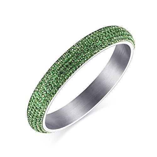 LAMUCH dell'acciaio inossidabile delle donne Gioielli Sei-fila braccialetto di diamanti, Verde