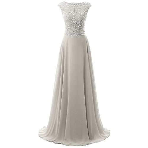 09a7fa7e57 Uther Nice Long Chiffon Bridesmaid Dress Cap Sleeves Beaded Prom Evening  Gown