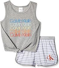 Calvin Klein Girls' Little 2 Piece Sleepwear T-Shirt and Shorts Pajama Set Pj, Grey, CK Heather Stripe, 10-12