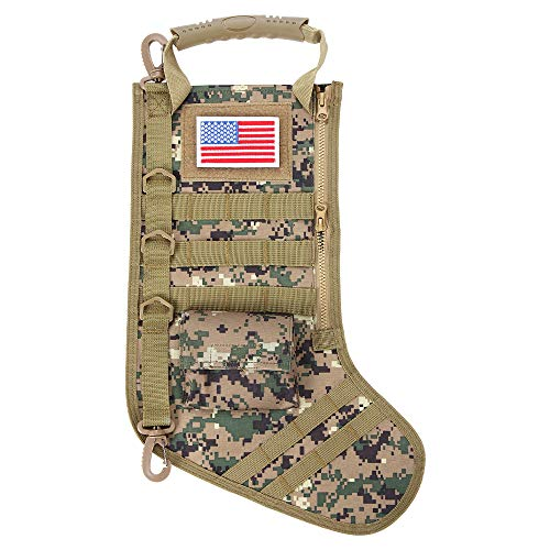 Xiaxiacole Camo Tactical Christmas Stocking Military Gift Bag Durable Christmas Ornament for Home Decorations with USA Flag Patch