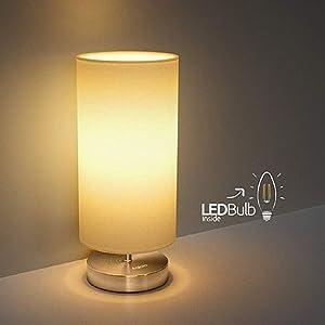 Tischlampe, Nachttischlampe für Schlafzimmer, TECKIN Stoff Schreibtischlampe, Minimalist Moderne Stoff Nachttisch-Leuchte für Schlafzimmer, Kaffeetisch and Büro (4w E27 LED Birne Enthalten)