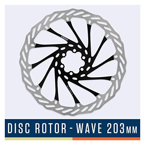 Alphatrail Disco de Freno Wave - Ø 203mm I Alta Fuerza de frenado & Duradero I Dosificación óptima I Montaje de 6 Orificios I Compatible con Todos los Frenos de Disco de Shimano, Magura, Avid etc