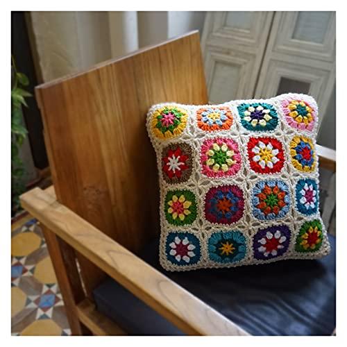 DFYYQ Crochet Hecho a Mano Almohada Granny Margarita Flor Patrón Cojín Hecho A Mano Decorativo 45x45cm / 40x40cm Ocio (Specification : 45x45cm)