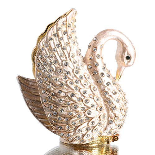 Waltz&F White Diamond Swan Metal Trinket Box Jeweled Hand-Painted Ring Holder Animal Collectible Figurine Decoration