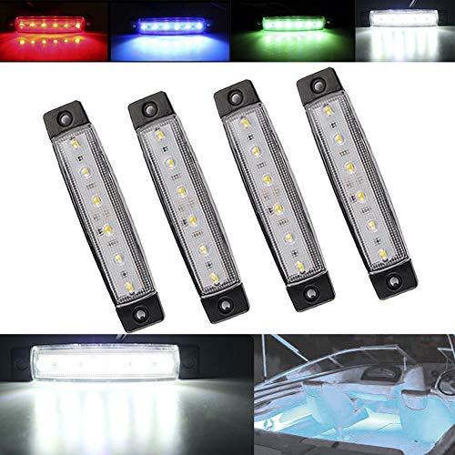 Electrely Navigationslicht Für Boote, 4 Stück 12V Marine Boot Yacht LED Licht Signalleuchte Port Seitenbogen Licht für Boot Yacht Skeeter (Weiß)