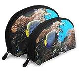JUKIL Tropical Fish 1 Viaje Cosmético Almacenamiento Surtido Bolsas portátiles Embrague Bolsa Regalo 2 Piezas para Mujeres
