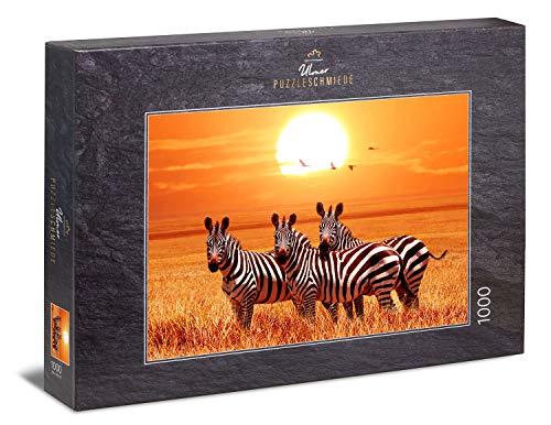 """Ulmer Puzzleschmiede - Puzzle """"Bajo el sol de África"""": Puzzle de 1000 piezas - Un pequeño grupo de cebras bajo el sol en la sabana de África"""