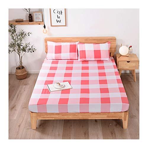 MZP Bajera Ajustable 100% algodón, Sábana Bajera Ajustable con Goma elástica en Todo el Contorno Fitted Sheets Double Bed Cotton Profundidad 25cm (Color : Pink Large Grid, Size : 135×200cm)
