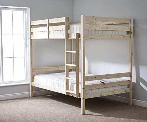 Strictly Beds and Bunks - Classic Double Bunk Bed includes 2x 15cm Thick Sprung Mattresses, 4ft 6 Double