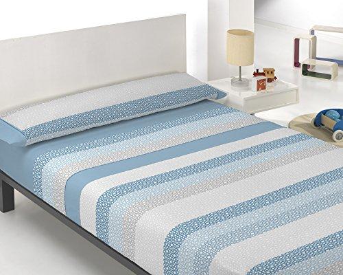 The Best Fashion House Juego de 3 piezas de sabana bajera + sabana encimera + funda almohada modelo Naomi (2 colores y 5 medidas a elegir) (Azul, 180 cm)