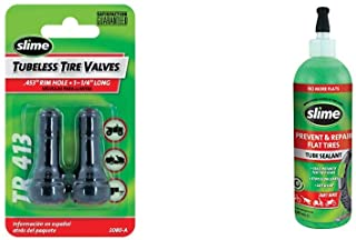 """Slime 2080-A Rubber Tire Valve Stems, 1-1/4"""" TR 413 + 10004 Tube Repair Sealant, 16 oz. (Bicycles, Dirt Bikes, All Tires with Tubes)"""
