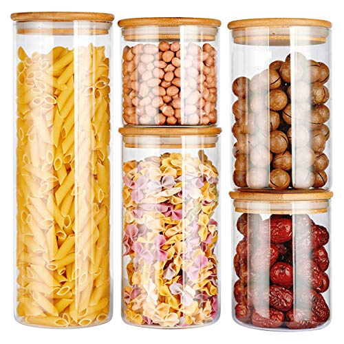 copdrel Stackable Kitchen Canisters Set Airtight Glass Canister Set of 5 - Clear Glass Bulk Food Storage Canister for Coffee Flour Sugar Candy Cookie Spice