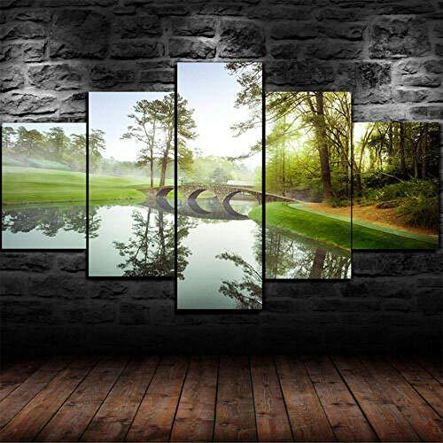 Gyybfhn Kunstdrucke Moderne Druck Malerei Hintergrund Dekor Modulare 5 Teiliges Wandbild XXL/Gerahmter Golfplatz Augusta Masters Golf/Poster Wandkunst Leinwand Geschenk Kunstwerk150X80Cm