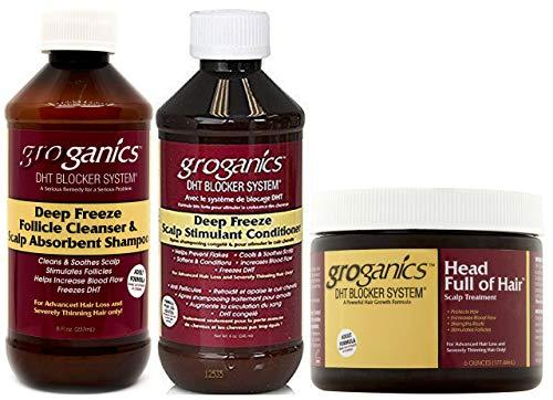 Groganics Deep Freeze Shampoo, Conditioner & Kopf voller Haar-Kopfhaut-Behandlung (3er-Set Combo)