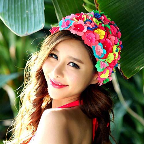 Nieuwe collectie bloem badmuts voor vrouw zwemmen hoed voor lang haar bloemen ontwerp caps sexy bloemen dames hoeden, roze, one size