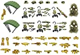 lego world war 2 - Wild Soldiers with Tactical Vest, Camouflage Ghillie Suit, Parachutes, and Weapon Compatible with Major Building Block Brand