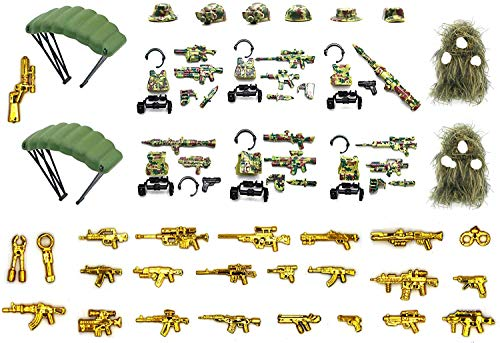 Wild Soldiers with Tactical Vest, Camouflage Ghillie Suit, Parachutes, and Weapon Compatible with Major Building Block Brand