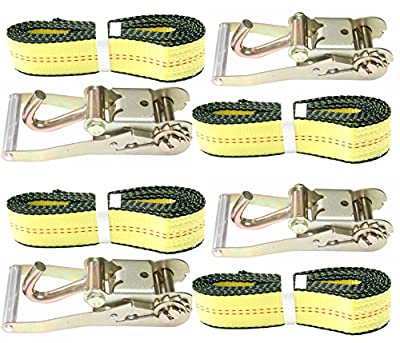 "2"" X 10' DKG Soft Eye Strap with Finger Hook Ratchet Tie Down - Over Wheel Lasso Strap with Ratchet Car Carrier Tie Down - Compete Car Hauler Trailer Tire Strap with Ratchet"