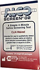 Self-collected saliva sample Detects blood alcohol concentrations above 0.02% Wet the test pad with saliva and wait 2 minutes