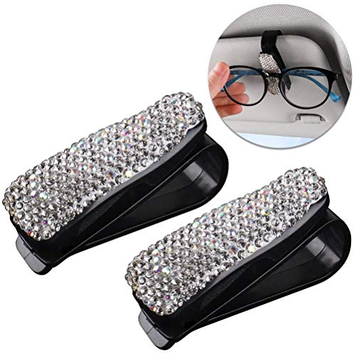 SUMAJU 2 PCS Bling Glasses Holders for Car Sun Visor, Sparkling Diamond Crystal Rhinestone Sunglasses Eyeglasses Holder Clip Hanger Mount with Ticket Card Clip