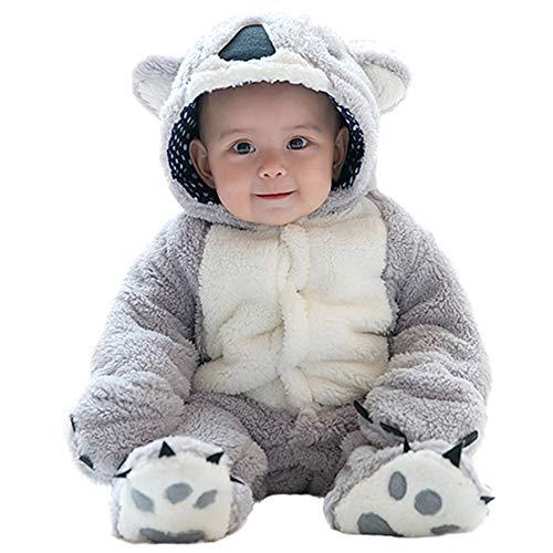 mrcos ふわふわ ベビー服 カバーオール 赤ちゃん 可愛い動物 コアラ 着ぐるみ 足つき 暖かい コート 秋冬 ...