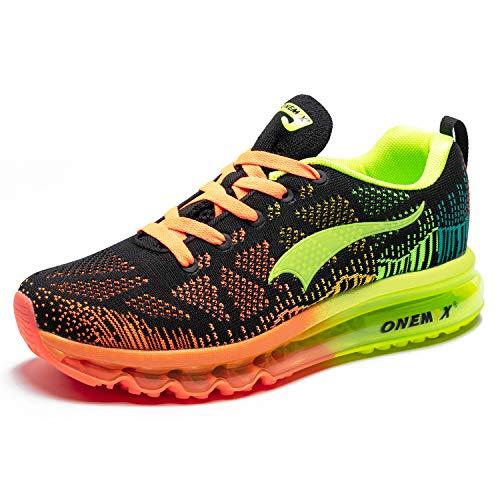 ONEMIX Hombres Zapatillas Deporte Running Aire Libre Respirable Zapatos para Correr Gimnasio Sneakers 1118 Negro Fluorescente Verde 43EU