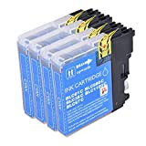 PerfectPrint - 4 cian PerfectPrint cartucho de tinta Compatible reemplazar LC1100 LC980 LC 1100 LC 980 para Brother MFC-250C MFC-255CW MFC-290C MFC-295CN MFC-297C MFC-490CN MFC-5490CN MFC-5890CN MFC-790CW MFC-795CW MFC-6490CW MFC-6890CDW MFC-990CW DCP-145C DCP-163C DCP-165C DCP-167C DCP-18