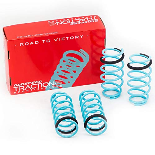 Godspeed LS-TS-MA-0010 Traction-S Performance Lowering Springs, Reduce Body Roll, Improved Handling, Set of 4, compatible with Mazda 3 (BM) Sedan 2014-18