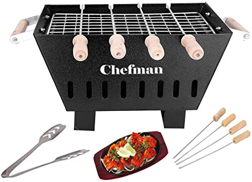 Chefman Small Charcoal Grill Barbeque with 4 Skewers, 1 Grill 1 Tong (Structure Black)
