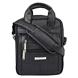Handcuffs Leather Crossbody Sling Bag Briefcase Style for Men for Daily Use - 10 Inch (Black),Handcuffs,BFSLNG41