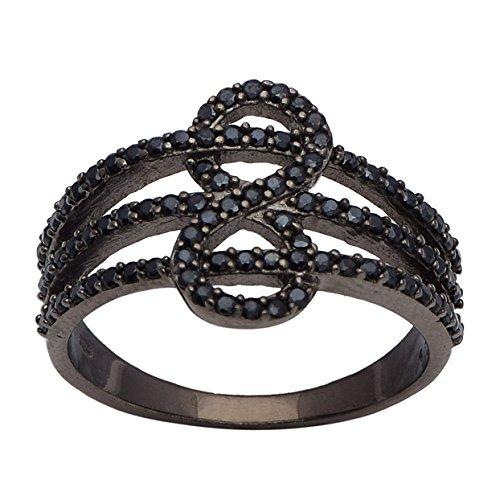 Shine Jewel Anillo de escalera de plata esterlina 925 con piedras preciosas de espinela negra para mujer L Redondo negro espinela